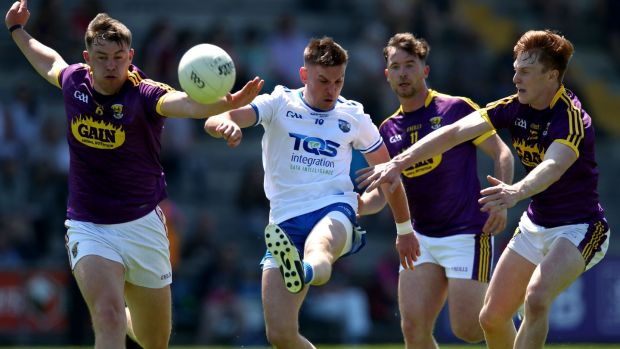 Gavin Crotty of Waterford shoots during the All-Ireland SFC qualifier against Wexford at Innovate Wexford Park. Photograph: Bryan Keane/Inpho