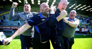 Waterford's manager Tom McGlinchey and his backroom team celebrate at the final whistle after the qualifier win over Wexford at  Innovate Wexford Park. Photograph: Bryan Keane/Inpho
