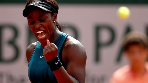 Sloane Stephens reacts after winning a point against Simona Halep during the French Open final at Roland Garros in Paris. Photograph: Yoan Valat/EPA