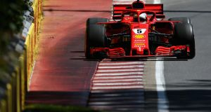Ferrari's Sebastian Vettel  during qualifying for the Canadian  Grand Prix at Circuit Gilles Villeneuve in Montreal. Photograph:  Charles Coates/Getty Images