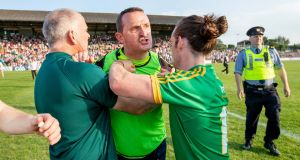 Meath manager Andy McEntee vents his frustration at the officials at the full time whistle. Photograph: Morgan Treacy/Inpho