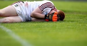 Westmeath goalkeeper Kevin Fagan can't hide his disappointment after spilling the ball into his own goal. Photograph: Ryan Byrne/Inpho