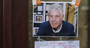Notes and memories of Anthony Bourdain at the closed location of Brasserie Les Halles in New York. Photograph: Drew Angerer/Getty Images