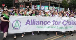Alliance for Choice members at the Processions march in Belfast. Photograph: Niall Carson/PA