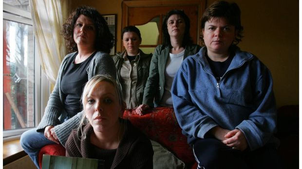 Bridgeen Hagans (centre), fiancee of murdered Belfast man Robert McCartney, with four of his five sisters, Donna, Claire, Catherine and Gemma. Photograph: Bryan O'Brien