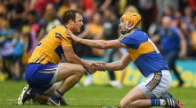 Patrick O'Connor of Clare and Seamus Callanan of Tipperary after the match at Semple Stadium in Thurles. Photograph: Ray McManus/Sportsfile via Getty Images