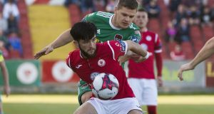 Sligo Rovers' Adam Wixted and Cork City's Colm Horgan. Photograph:  ©INPHO/Evan Logan