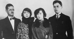Ripe for mythologisation: Lucia Joyce with her father, James, mother, Nora Barnacle, and brother, Giorgio, in Paris in 1924. Photograph: Archive/Getty