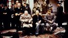 British prime minister Winston Churchill, US president Franklin D Roosevelt and Russian leader  Joseph Stalin pose at the Livadia Palace in Yalta, Crimea at the conclusion of the Yalta conference in February 1945. Photograph:  Keystone-France/Gamma-Keystone via Getty Images