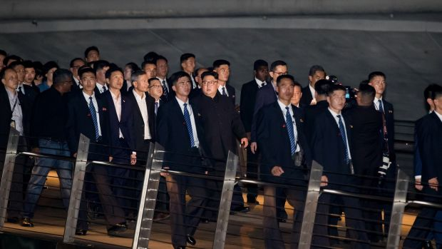 Kim Jong-un, North Korea's leader, tours the Esplanade in Singapore. Photograph: SeongJoon Cho/Bloomberg