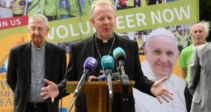 Archbishop  Diarmuid Martin of Dublin,  and Catholic primate Archbishop Eamon Martin announce   Pope Francis's itinerary for the World Meeting of Families 2018. Photograph:   Dara Mac Dónaill