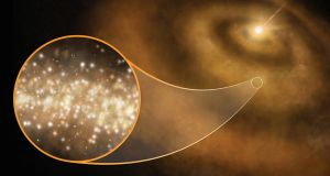 A Cardiff University image illustrating a mysterious stream of microwaves emanating from star systems far out in the Milky Way. Photograph: Cardiff University/PA Wire
