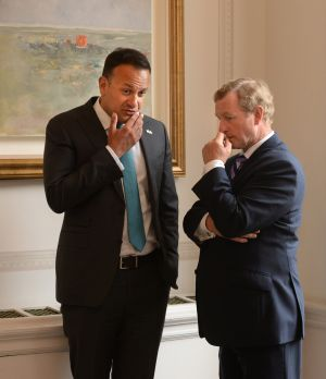 EUROPEAN OF THE YEAR: Taoiseach Leo Varadkar (left) presents the European Movement Ireland's European of the Year award to former taoiseach Enda Kenny, in recognition of his contribution to enhancing Ireland's place in Europe. Photograph: Dara Mac Dónaill/The Irish Times