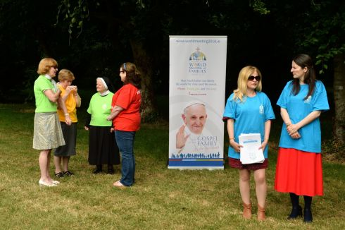 PAPAL ITINERARY: Volunteers wait for the announcement of Pope Francis's itinerary for the World Meeting of Families 2018, taking place this summer, in Maynooth, Co Kildare. Photograph: Dara Mac Dónaill/The Irish Times
