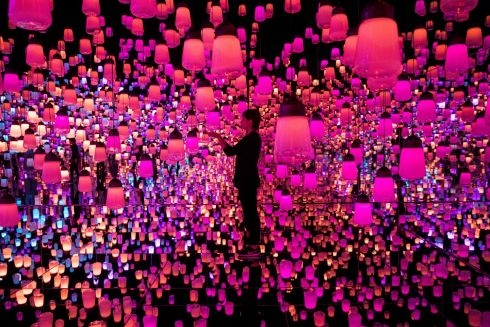 "JAPANESE LANTERNS: Mori Building Co and the Japanese collective known as teamLab, known internationally for their innovative ""digital art"" that combines projections, sound and carefully designed spaces to create immersive experiences, will launch the Digital Art Museum in Tokyo on June 21st. Photograph: Behrouz Mehri/AFP/Getty Images"
