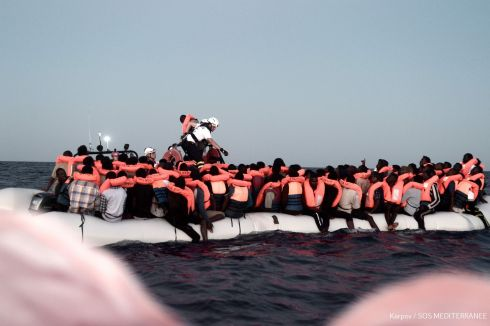 SPANISH SANCTUARY: A handout picture taken in the search-and-rescue zone in the Mediterranean sea on June 9th and released on June 11th by NGO SOS Mediterranée shows migrants being rescued before boarding the organisation's ship, Aquarius. Italy and Malta had refused to allow the docking of the vessel, before Spain announced the vessel could travel to Valencia. Photograph: Karpov/AFP/Getty Images