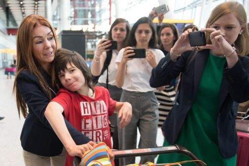 UNKINDEST SEIZURE: Charlotte Caldwell (left) and her son Billy at Heathrow Airport after having a supply of cannabis oil used to treat his severe epilepsy confiscated on their return from Canada. Ms Caldwell made the trip to Toronto and back with 12-year-old Billy to get a six-month supply to treat up to 100 seizures a day, but said border officials took away the oil on Monday. Photograph: Stefan Rousseau/PA Wire