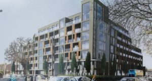 An image of the proposed €80 million apartment block in Donnybrook that has sparked complaints from local residents over the scale of the project.