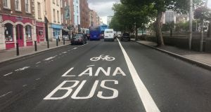 Under the plans, 230km of expanded bus lanes and 200km of cycle lanes are to be constructed within a decade. Photograph: Alan Betson