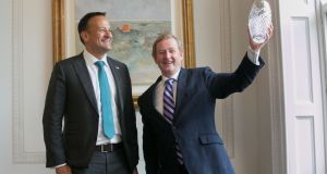 Taoiseach Leo Varadkar  and former taoiseach Enda Kenny  after Mr Kenny was awarded  European of the Year  in recognition of his contribution to Irish-EU relations, at the Shelbourne Hotel, Dublin. Photograph: Gareth Chaney/Collins