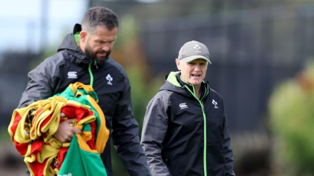 Ireland defence coach Andy Farrell and head coach Joe Schmidt. Photograph: Dan Sheridan/Inpho