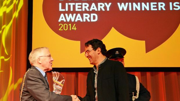 Lord Mayor of Dublin Christy Burke with Colombian author Juan Gabriel Vásquez whose novel The Sound of Things Falling, translated by Anne McLean, won the 2014 award. Photograph: Eric Luke