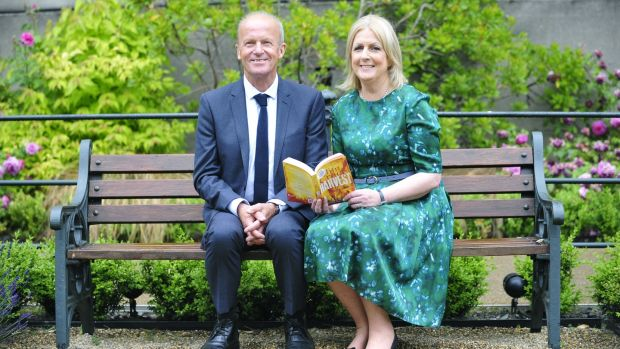 Jim Crace, winner of the 2015 award for his novel Harvest, with Dublin City Librarian Margaret Hayes at the awards ceremony in The Mansion House, Dublin. Photograph: Aidan Crawley