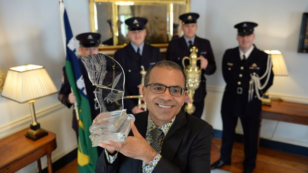Akhil Sharma, winner of the 2016 International Dublin Literary Award for his novel Family Life, at the Mansion House, Dublin where he received his award. Photograph: Brenda Fitzsimons
