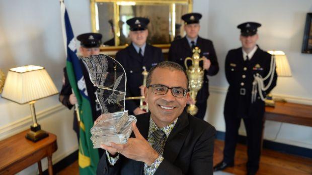 Akhil Sharma, winner of the 2016 International Dublin Literary Award for his novel Family Life, at the Mansion House, Dublin where he received his award. Photograph: Brenda Fitzsimons