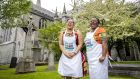 Chefs Vuyisile Mbangiwa  and  Sinqobizitha Mguni, both from Zimbabwe, now living in Birchwood House for Asylum Seekers in Waterford, will cook at an Irish welcome dinner for 270  refugees at St Patrick's Cathedral. Photogaph: Marc O'Sullivan