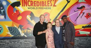 Craig T Nelson, Holly Hunter, Brad Bird and Samuel L Jackson at the world premiere of Pixar's Incredibles 2.