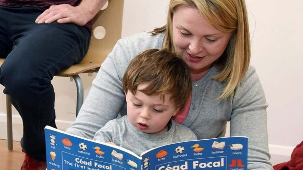Geraldine O'Connell and her son Eoin at the London Irish Playgroup in the London Irish Centre in Camden. Photograph: Malcolm McNally