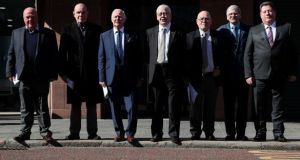 An image from Marh 2018 showing seven of the 14 'hooded men', who were kept in hoods interned in Northern Ireland in 1971. (From left) Jim Auld, Patrick McNally, Liam Shannon, Fracncie McGuigan, Davy Rodgers, Brian Turley and Joe Clarke. Photograph: PA