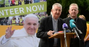 Archbishop of Dublin Diarmuid Martin and Archbishop of Armagh Eamon Martin announce publication of Pope Francis's itinerary for the World Meeting of Families 2018 in Ireland. Photograph: Dara MacDónaill/The Irish Times