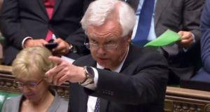 Brexit minister David Davis during exchanges in the House of Commons today. Photograph: Getty Images