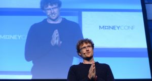 Web Summit CEO Paddy Cosgrave  gives the opening address on the first day of MoneyConf at the RDS in Dublin. Photograph: Dara Mac Dónaill