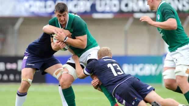 Ireland's Matthew Dalton is tackled during his side's defeat to Scotland under-20s. Photograph: Pascal Rodriguez/Inpho