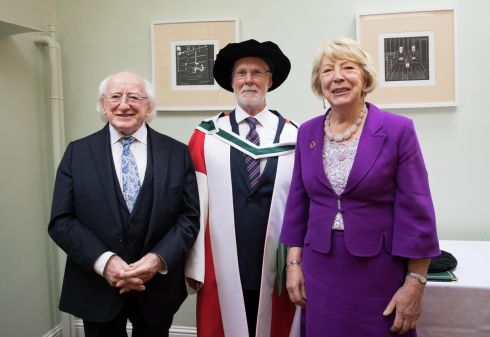 DOCTOR OF LITERATURE: President Michael D Higgins and his wife Sabina at the conferring of a degree of Doctor of Literature on historian, journalist and trade unionist Padraig Yeates by the National University of Ireland at Merrion Square in Dublin. Photograph: Tom Honan