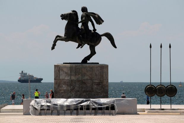 A statue of Alexander the Great in the northern city of Thessaloniki, Greece. The country's northern region of Macedonia is birthplace of the ancient warrior king. Photograph: Reuters