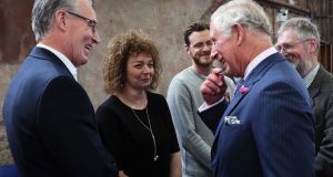 The Prince of Wales with Sinn Féin MLA Caral Ní Chuilín and her colleague Gerry Kelly (left) at Carlisle Memorial Church in Belfast. Photograph: Brian Lawless/PA Wire.