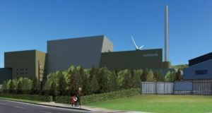 An artist's impression of the proposed incinerator at Ringaskkiddy in Co Cork.