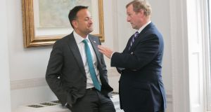 Taoiseach Leo Varadkar (L) and former taoiseach Enda Kenny during the European of the Year award ceremony  in recognition of Kenny's contribution to Irish-EU relations in the Shelbourne Hotel, Dublin. Photograph:  Gareth Chaney/ Collins