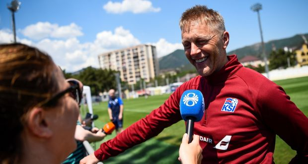 Iceland S Head Coach Heimir Hallgrimsson Smiles As He Speaks To The Media After A Training Session