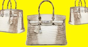 The 2008 Hermes Birkin bag, with an 18-carat white gold diamond encrusted lock, which sold for €184,587 at an auction in London.