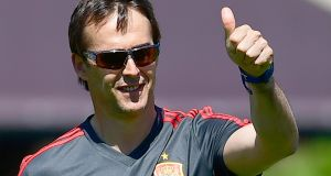 Spain's coach Julen Lopetegui during a training session in Krasnodar Academy in Russia. Photograph: Getty Images