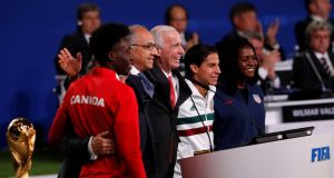Officials supporting the joint bid of United States, Canada and Mexico to host the 2026 World Cup, take part in a presentation during the 68th Fifa Congress in Moscow. Photograph: Sergei Karpukhin/Reuters
