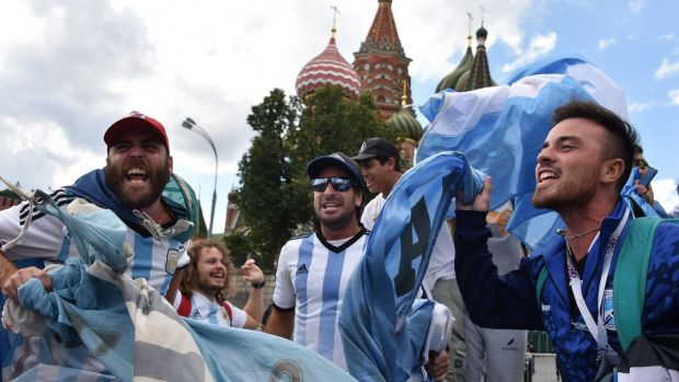 Argentina fans outside St Basil's Cathedral in Moscow. Photograph: Vasily Maximov/Getty