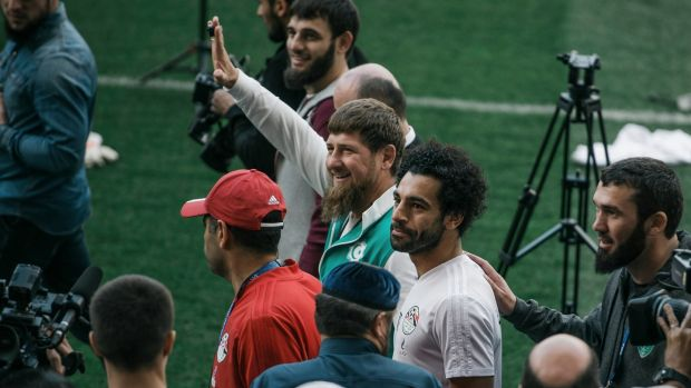 Chechen leader Ramzan Kadyrov and Egypt forward Mohamed Salah at the Akhmat Arena in Grozny. Photograph: Maxim Bebenko/NYT