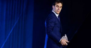 Julen Lopetegui:  he can now look forward to being called a traitor by the half of Spain that is not already laughing at him. Photograph: Emilio Naranjo/EPA