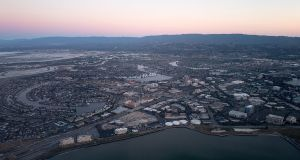 Aerial view of Silicon Valley at dusk. Photograph: Getty Images